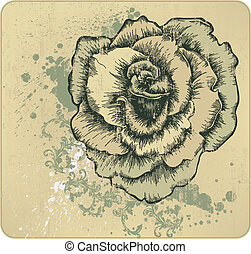 Vintage frame with blooming roses,