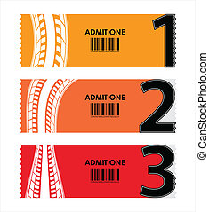special tickets with numbers and tire design