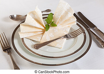 Dinner table with festive napkins - Elegant dinner table...