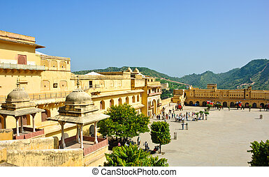 Amber Fort in Jaipur, India - View of courtyard in Amber...