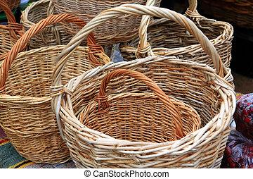 nuevo, cestas, rural, Mercado