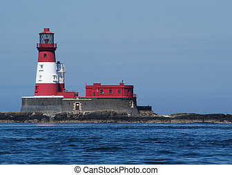 Red And White Light House - Longstone Island Red And White...