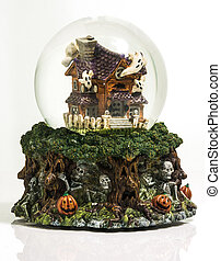 Halloween Snowglobe - Haunted house with ghosts, skulls, and...
