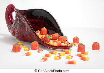 Candy Corn Cornucopia - Candy corn overflowing from...