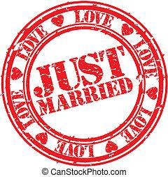 Grunge, sólo, casado, caucho, estampilla, V