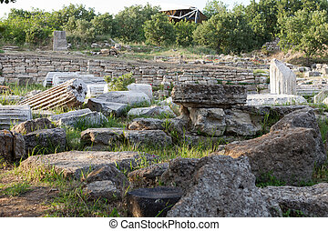 Ancient ruins in Troy.  Turkey