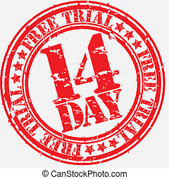 Grunge 14 day free trial rubber stamp, vector