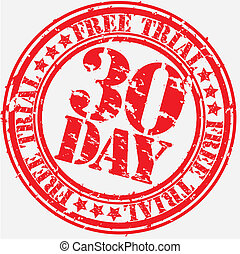 Grunge 30 day free trial rubber stamp, vector