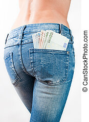 Euro banknotes in the back pocket