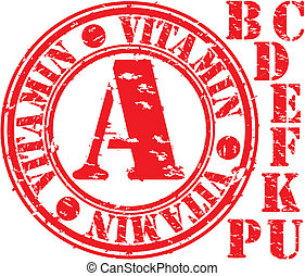 Grunge vitamin set rubber stamp, vector