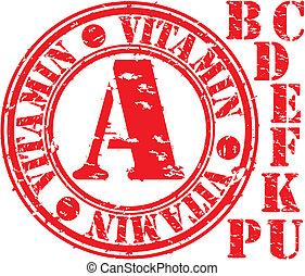 Grunge vitamin set rubber stamp, vector