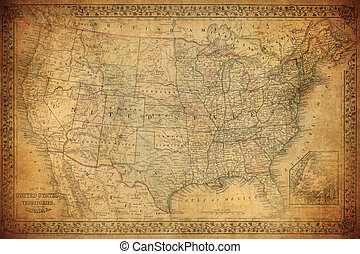 estados, mapa, unido,  1867, vendimia