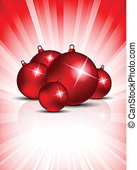 Xmas background with balls on red background