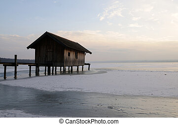 boathouse at Ammersee Germany Bavaria in winter