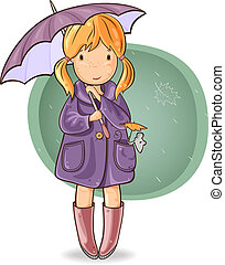 Girl under an umbrella - The girl walking with her mouse...