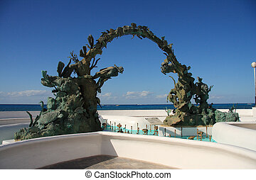cozumel pier - Cozumel pier with the ship in mexico