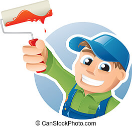 Happy painter with a paint roller - Vector illustration of a...