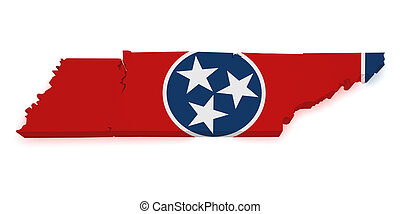 Tennessee Map 3d Shape - Shape 3d of Tennessee map with flag...