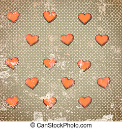 Abstract hearts on vintage background