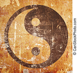 Yin yang symbol on grunge background with stains