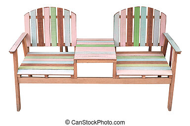 wood garden chair isolated white