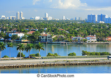 Miami day,Florida - Urban life in Miami town ,Florida , USA