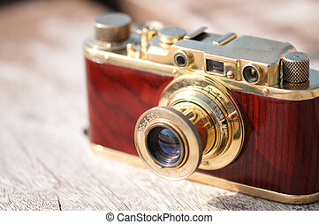 Vintage film camera - Vintage old film photo camera close up