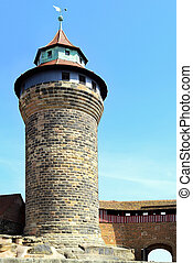 Tower of Nuremberg Castle with guard's walkway and portal on...