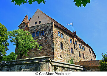 Building of Nuremberg castle with wall