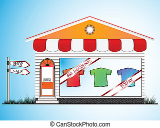 clothes shop, abstract vector art illustration; image...