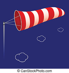 airport windsock against cloudy background, abstract vector...
