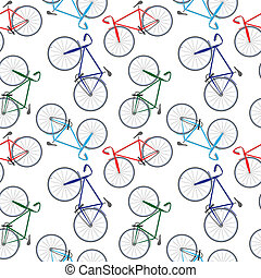 bicycles pattern, abstract seamless texture; vector art...