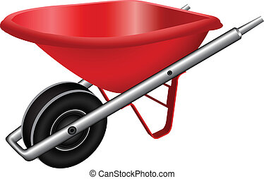 red wheel barrow against white background, abstract vector...