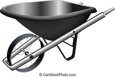 metallic wheel barrow against white background, abstract...