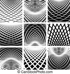 Optical illusion. Backgrounds set. Vector art.