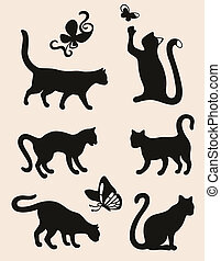 Six cat silhouettes isolated on coffee latte background