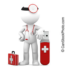Data protection concept. Isolated - Doctor with USB flash...