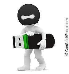 Stealing Information. Computer crim - 3d hacker stealing USB...