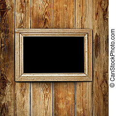 Vintage wooden frame on wood background