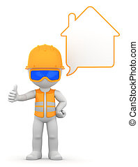 Worker with speech bubble. Isolated
