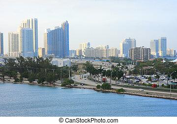 Miami day,Florida - Urban life in Miami town ,Florida , USA.