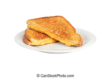 Grilled cheese sandwich on a plate - isolated Grilled cheese...