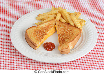 Top view grilled cheese sandwich