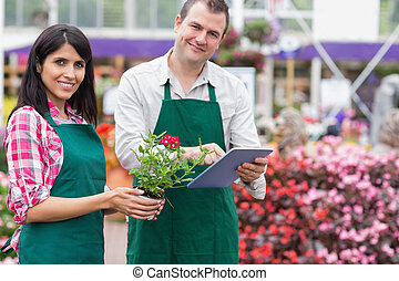 Two employees doing inventory with tablet pc - Two employees...