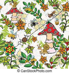 Seamless, modello, piante, Insetti, funghi