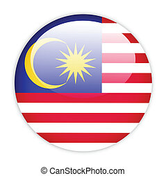 Malaysia flag button on white
