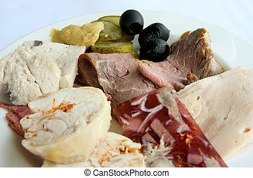 Cold cuts - Assorted cold cuts and roast beef with garnish...