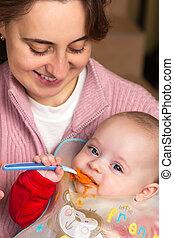 bebé, primero, tiempo, comida, solamente