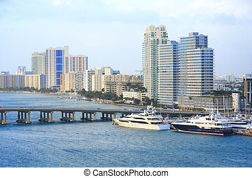 Miami day,Florida - yacht ship on the sea in Miami ,Florida...