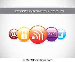 commucation icons - colorful communication icons with...